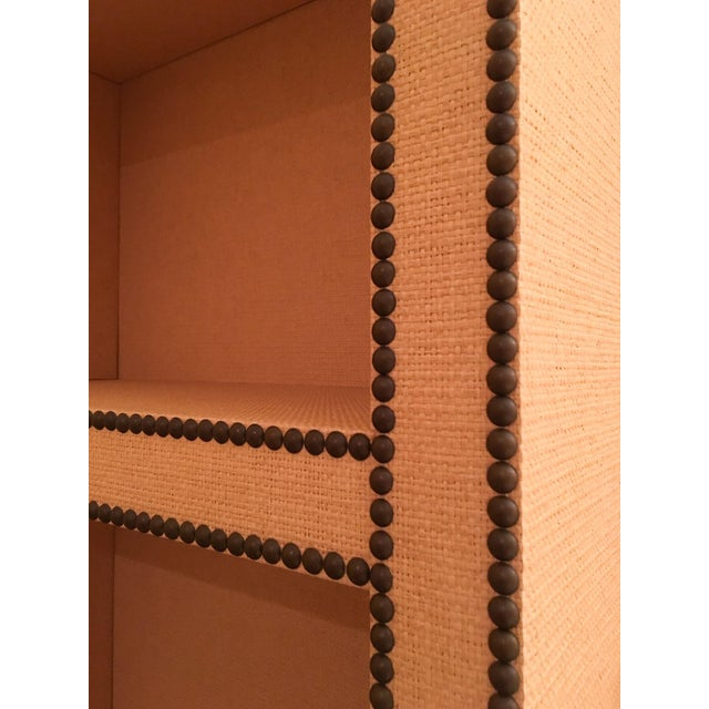 Contemporary Custom Grasscloth Covered Bookcase W/ Nail Head Detail For Sale - Image 3 of 4