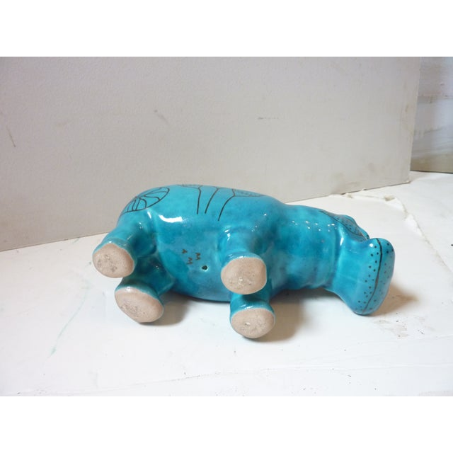 Egyptian Revival Vintage Faience Hippo Figurine For Sale - Image 3 of 6