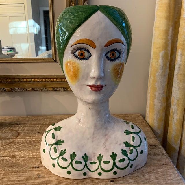 1960s Vintage Italian Ceramic Head Vase For Sale - Image 10 of 10