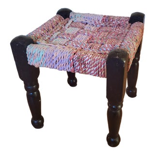 Vintage Stool Woven From Recycled Fabric For Sale