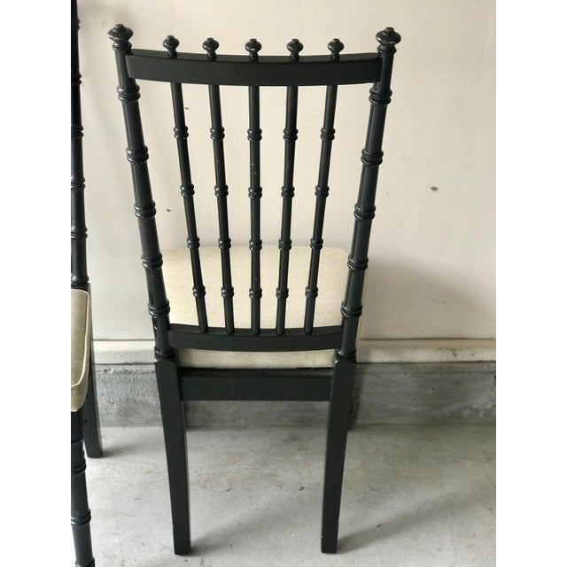 White 1970s Vintage Black Faux Bamboo Upholstered Dining Chairs- Set of 4 For Sale - Image 8 of 10