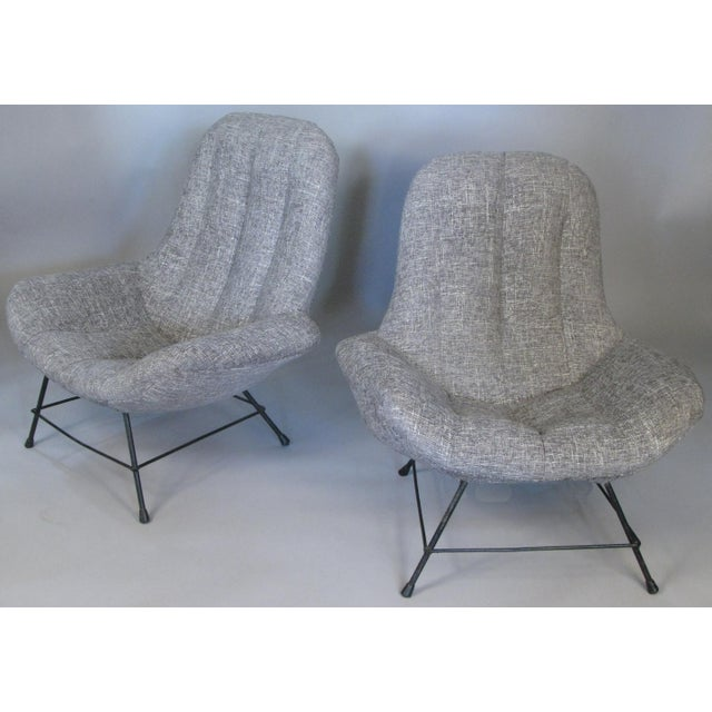 Light Gray 1950s Italian Lounge Chairs- A Pair For Sale - Image 8 of 8