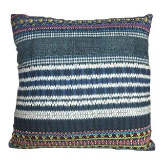 Kim Salmela Embroidered Indigo Pillow For Sale