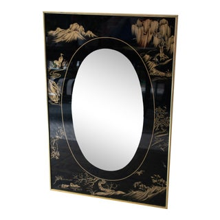 1980s Black Chinoiserie Rectangular Mirror in Brass Frame For Sale