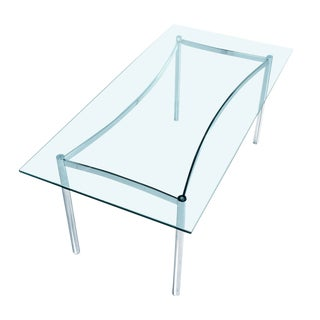 Mid-Century Modern Chrome Dining Table With Glass Top For Sale