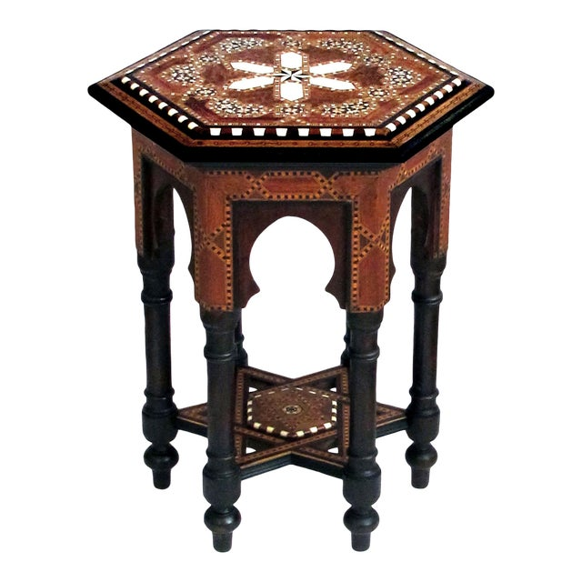 An Intricately Inlaid Syrian Hexagonal Table For Sale