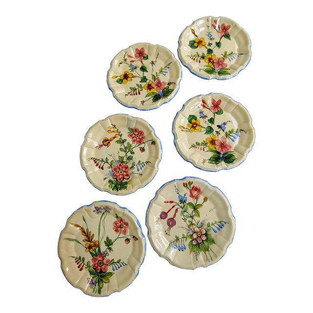 1930s Nove Rose Plates - Set of 6 For Sale