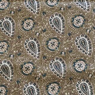 "John Rosselli Designer Jasper ""Agra"" Moss Green and Teal Paisley Linen Fabric- 2 Plus Yards For Sale"