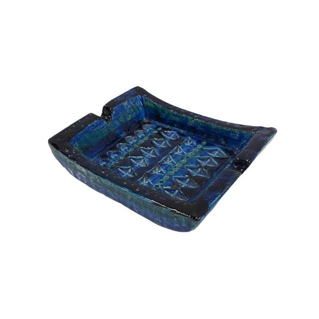Ceramic 1960s Aldo Londi for Bitossi Italian Modern Rimini Blue Small Ashtray For Sale - Image 7 of 7