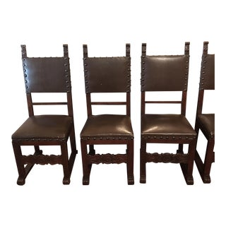 Early 1900s Neo-Gothic Style Italian Antique Dining Chairs - Set of 6