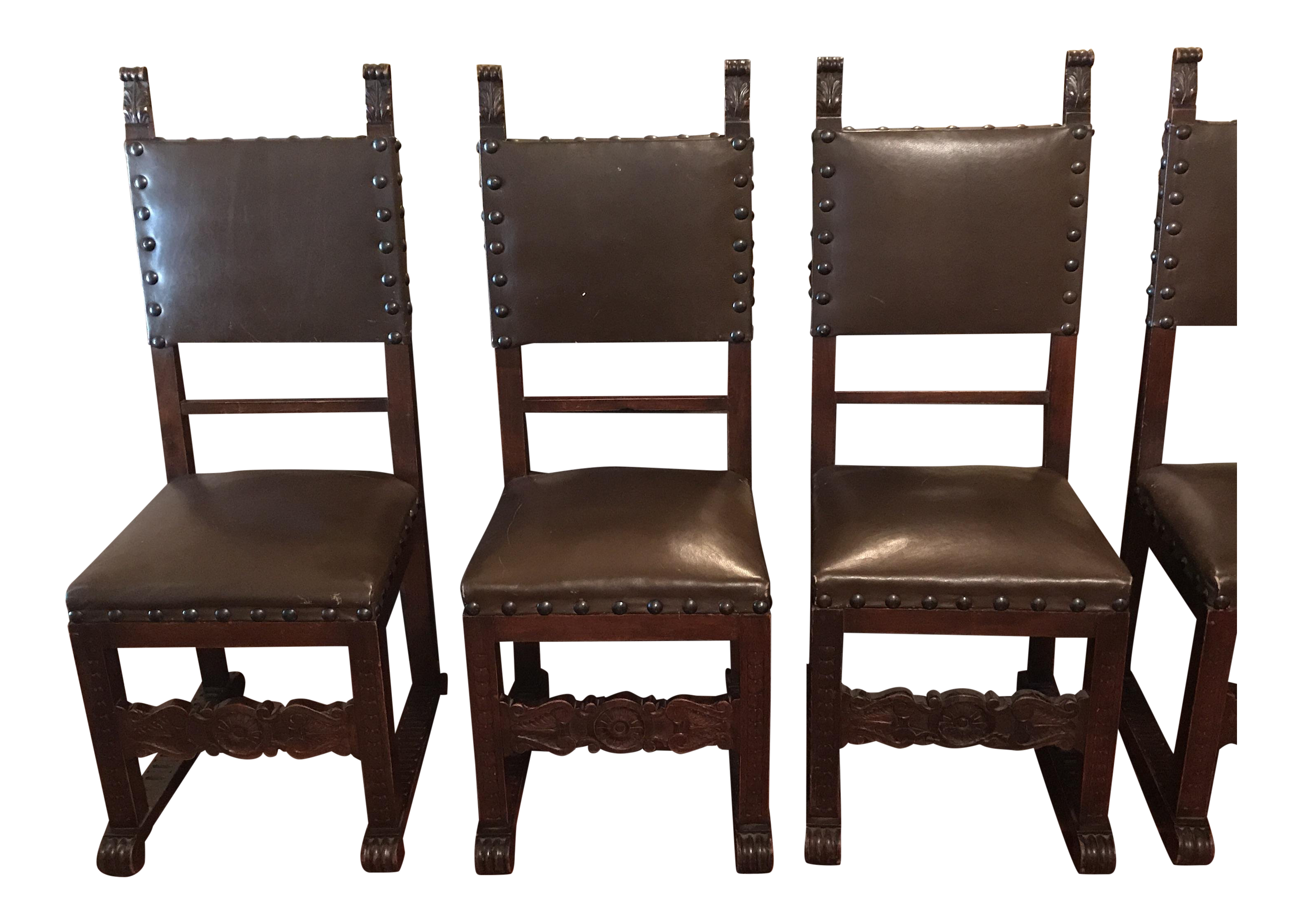 Early 1900s Neo Gothic Style Italian Antique Dining Chairs   Set Of 6 For  Sale