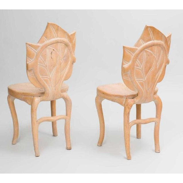 Hollywood Regency Pair Bartolozzi & Maioli Carved Wooden Side Chairs For Sale - Image 3 of 5