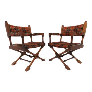Hollywood Regency Style X-Base Campaign Chairs, Circa 1960s - a Pair For Sale