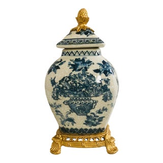 Chinoiserie Style Glazed Ceramic Jar With Faux Gilt Bronze Mounts For Sale