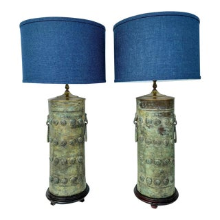 Vintage used asian table lamps chairish vintage verdigris bronze asian cylinder lamps a pair mozeypictures Choice Image