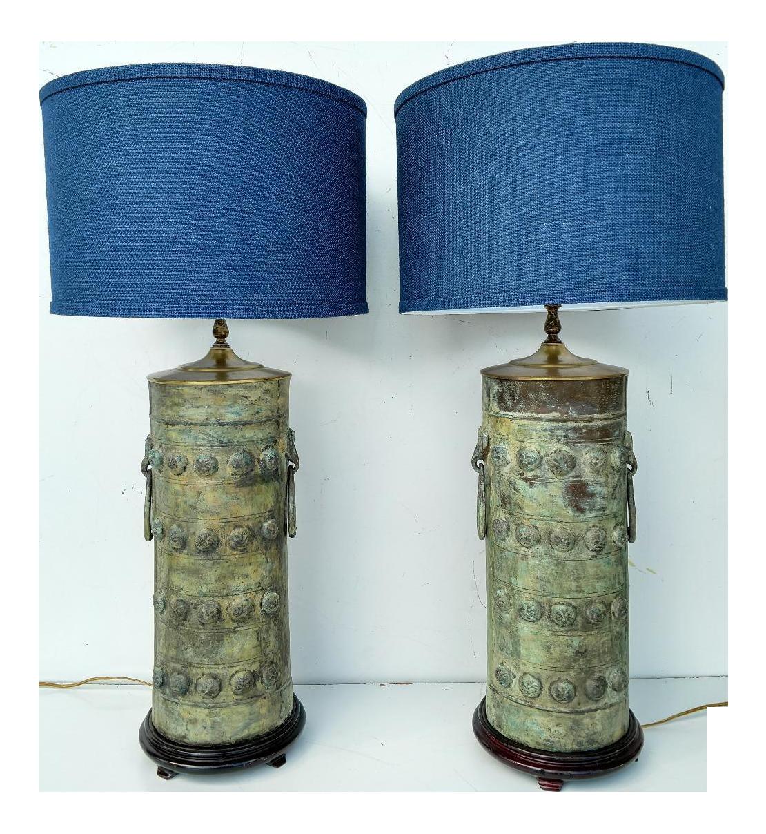 Vintage Verdigris Bronze Asian Cylinder Lamps   A Pair