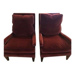 Modern Chic Velvet Club Chairs- A Pair For Sale