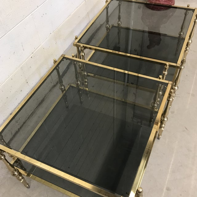 Gold Italian Smoked Glass & Brass End Tables For Sale - Image 8 of 11