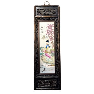 Pair Antique 19th Century Chinese Famille Rose Panels. For Sale
