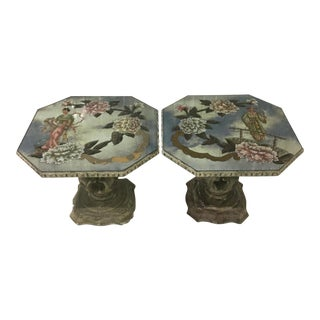 20th Century Chinoiserie Maison Jansen Eglomise Cocktail Tables - a Pair For Sale