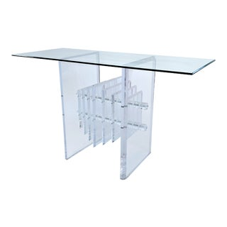 1960s Mid Century Modern Heavy Lucite Console Table For Sale