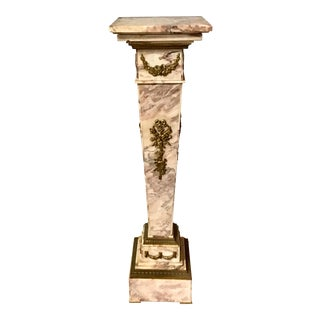 19th Century Carved Marble Bronze Mounted Pedestal For Sale