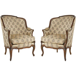 Mid 19th Century Louis XV Bergere Chairs - a Pair For Sale