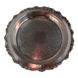 Image of Vintage Ornate Silver-Plated Serving Dish For Sale