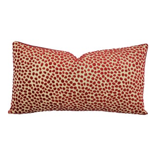 "Gp & J Baker Lifestyle Cosma in Blush Lumbar Pillow Cover - 10.5"" X 20 Red Raised Velvet Dots Rectangle Cushion Case For Sale"