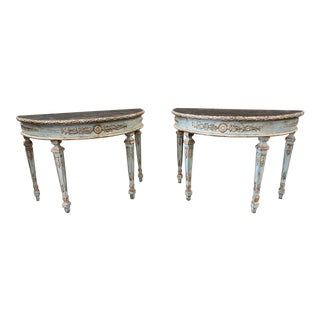 Italian Painted Demi Lune Console Tables - a Pair For Sale