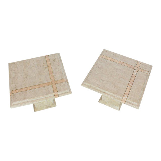 Pair of Tessellated Stone Tile Square Pedestal Shape End Side Tables Stands - A Pair For Sale
