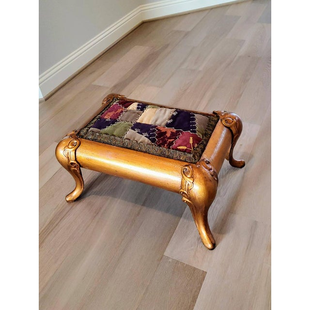 Antique Asian Gilt Bronze Cast Iron Upholstered Stool For Sale - Image 11 of 11