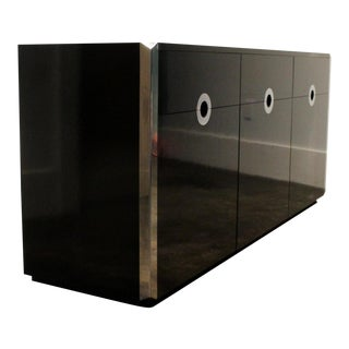 Willy Rizzo for Mario Sabot Black Laminate and Chrome Steel Sideboard, 1970's For Sale