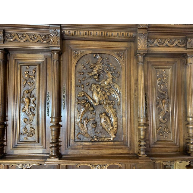 Brown 19th Century French Gothic Renaissance Carved Walnut Double Buffet / Cupboard For Sale - Image 8 of 12