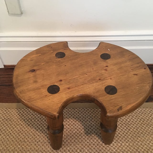 Brown Rustic Americana Wooden Stool For Sale - Image 8 of 11