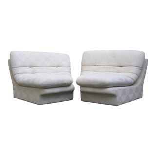 1970s Vladimir Kagan for Preview 2 Piece Modular Sectional Lounge Chairs - a Pair For Sale