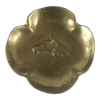 Solid Brass Horse Head Four Lucky Leaf Clover Catchall