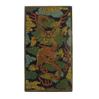 Chinese Box with Colored Dragon Graphic For Sale