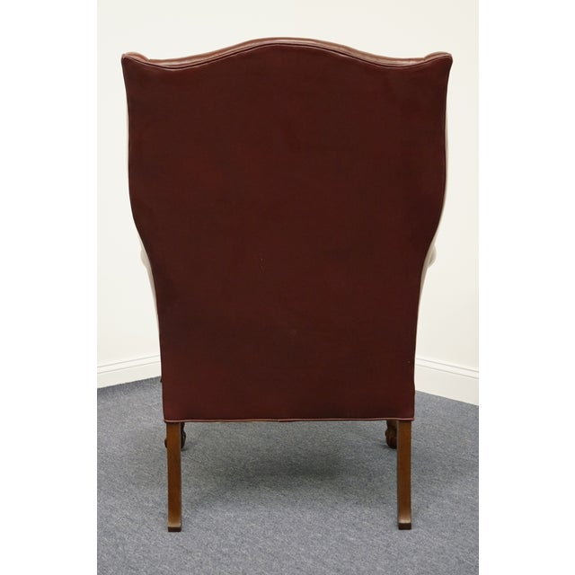 Burgundy Whittemore-Sherrill Burgundy Leather Wingback Chair For Sale - Image 8 of 10