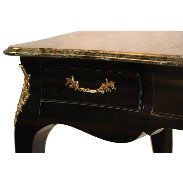 Louis XV Style Bureau Plat Marble French Writing Desk For Sale - Image 10 of 10