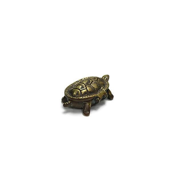 English Traditional Antique English Brass Turtle Match Box For Sale - Image 3 of 4