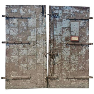 Turn of the Century Architectural Factory Tin Clad Fire Doors - A Pair For Sale
