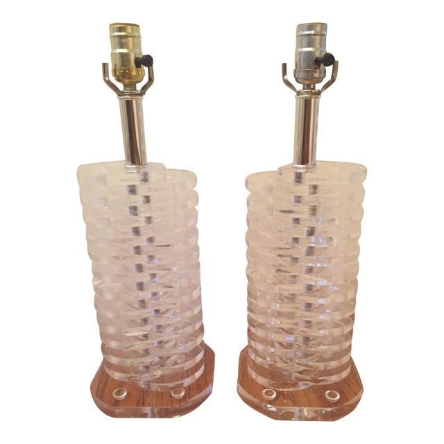 Stacked Lucite Lamps - A Pair - Image 1 of 11