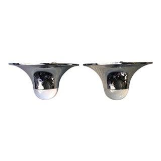 Modern Chrome & Acrylic Sconces - A Pair