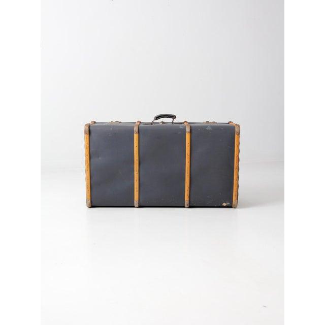 Industrial Vintage Steamer Trunk Suitcase For Sale - Image 3 of 10
