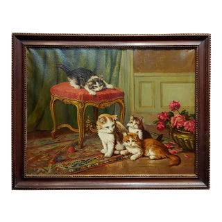 Cats Playing in the Living Room-19th Century Oil Painting For Sale