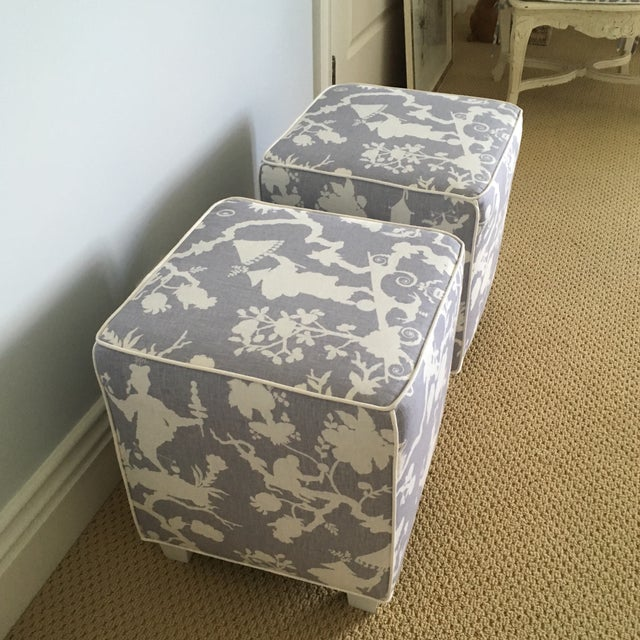 Cotton Chinoiserie Schumacher Cube Ottomans - a Pair For Sale - Image 7 of 8