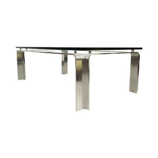 Mid Century Bent Aluminum & Glass Coffee Table For Sale