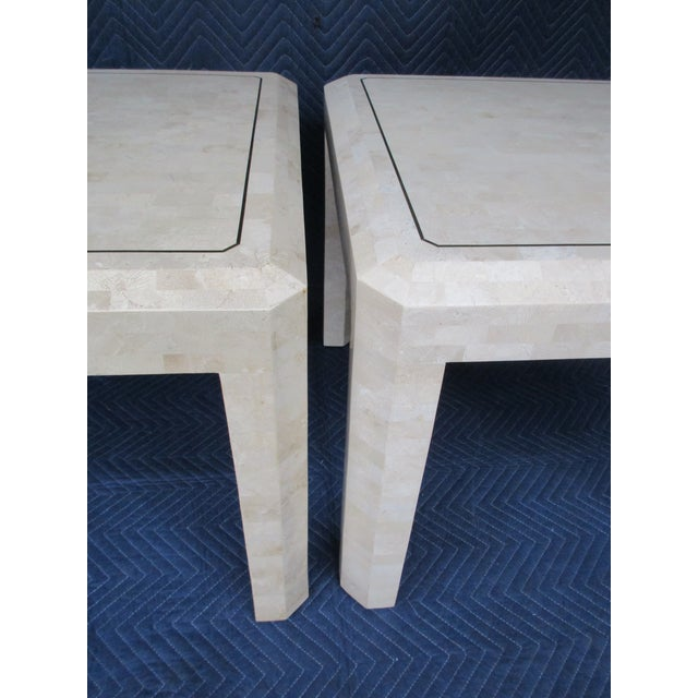 Gold Maitland Smith Tessellated Stone and Brass Side Tables - a Pair For Sale - Image 8 of 12