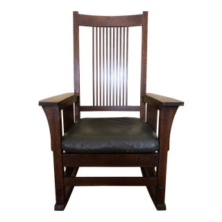 Stickley Oak Spindle Rocker For Sale